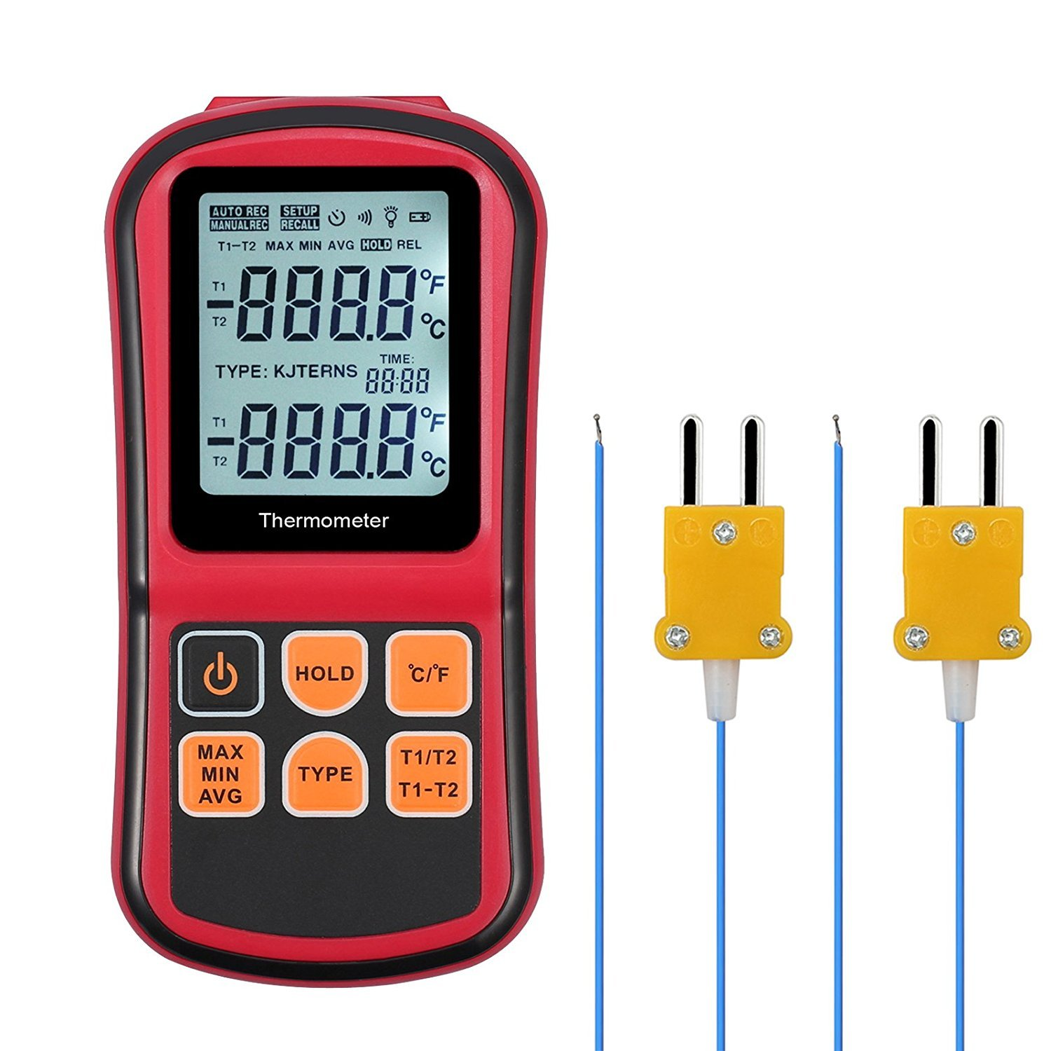 Kamtop Digital Thermometer Dual Channel Thermometer with Two K- type Thermocouples Temperature Meter with LCD Backlight for K/ J/ T/ E/ R/ S/ N Thermocouple by Kamtop