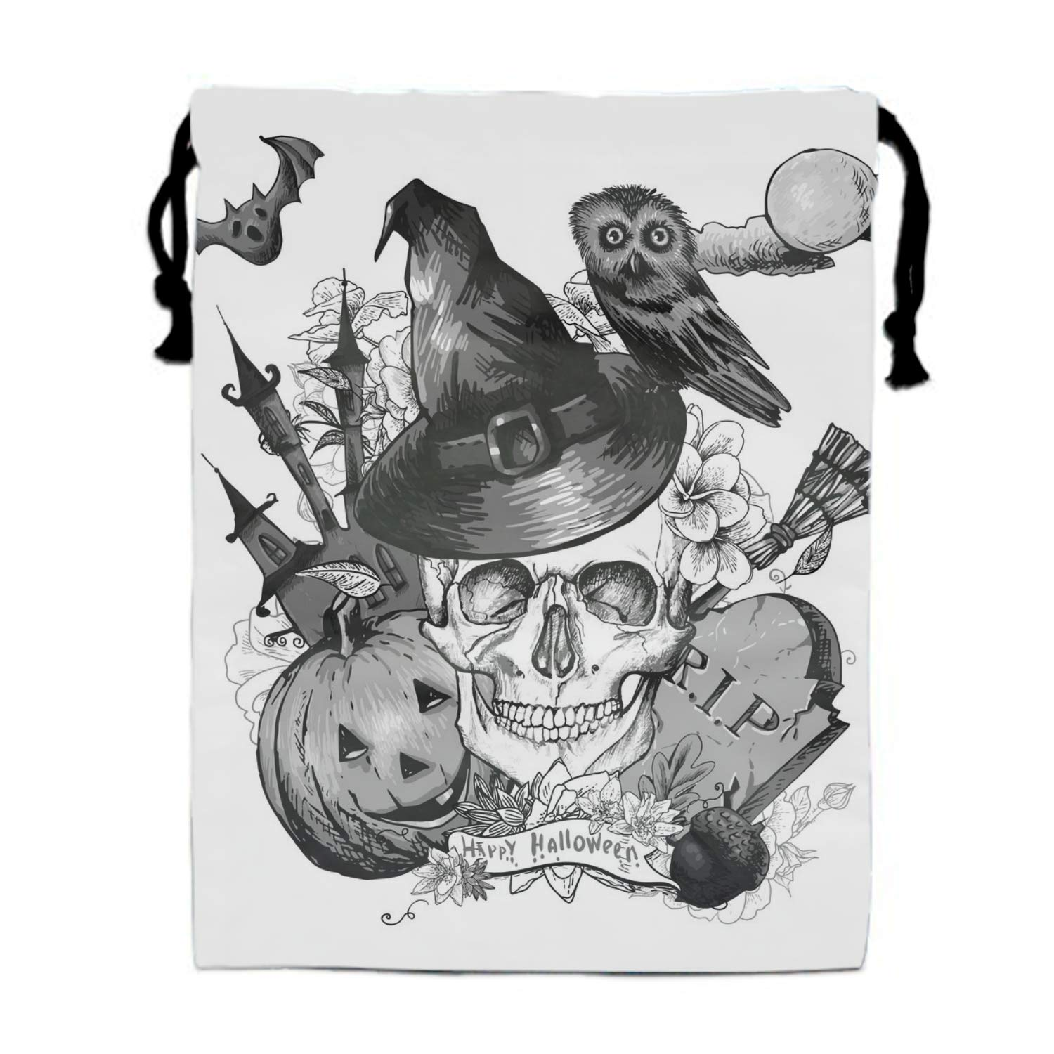 Halloween Skull Drawstring Pouches Candy Jewelry Party Wedding Favor Present Bags 15.75/11.8''