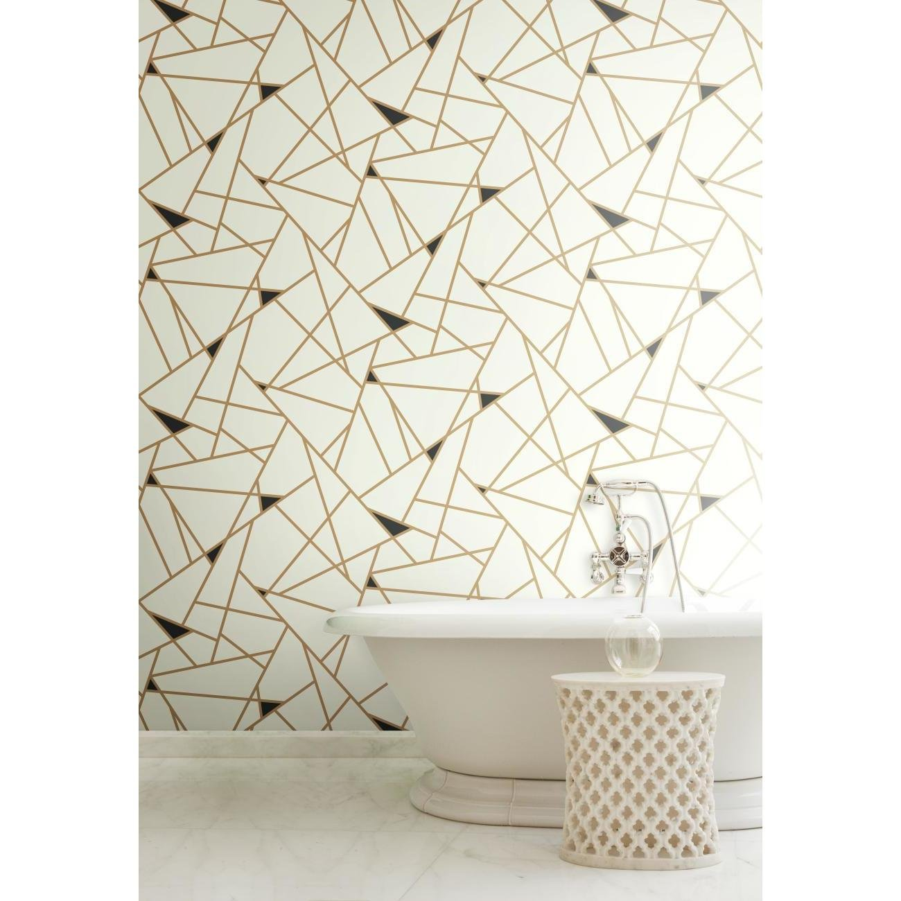 York Wallcoverings Risky Business Geometric Removable Wallpaper Gold White Ultra Easy