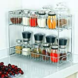 2-Tier Spice Rack Organizer, Countertop Storage Kitchen Shelf Holder for Jars Bottle