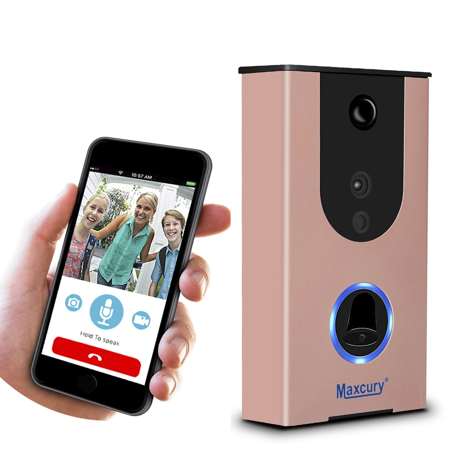 Door Viewer Smart Wi-Fi Video Doorbell in Rose Gold Waterproof IP65, iOS & Android APP, IR Night Vision, Cloud Storage, Support Tamper Alarm [CE FCC RoHS]Certification