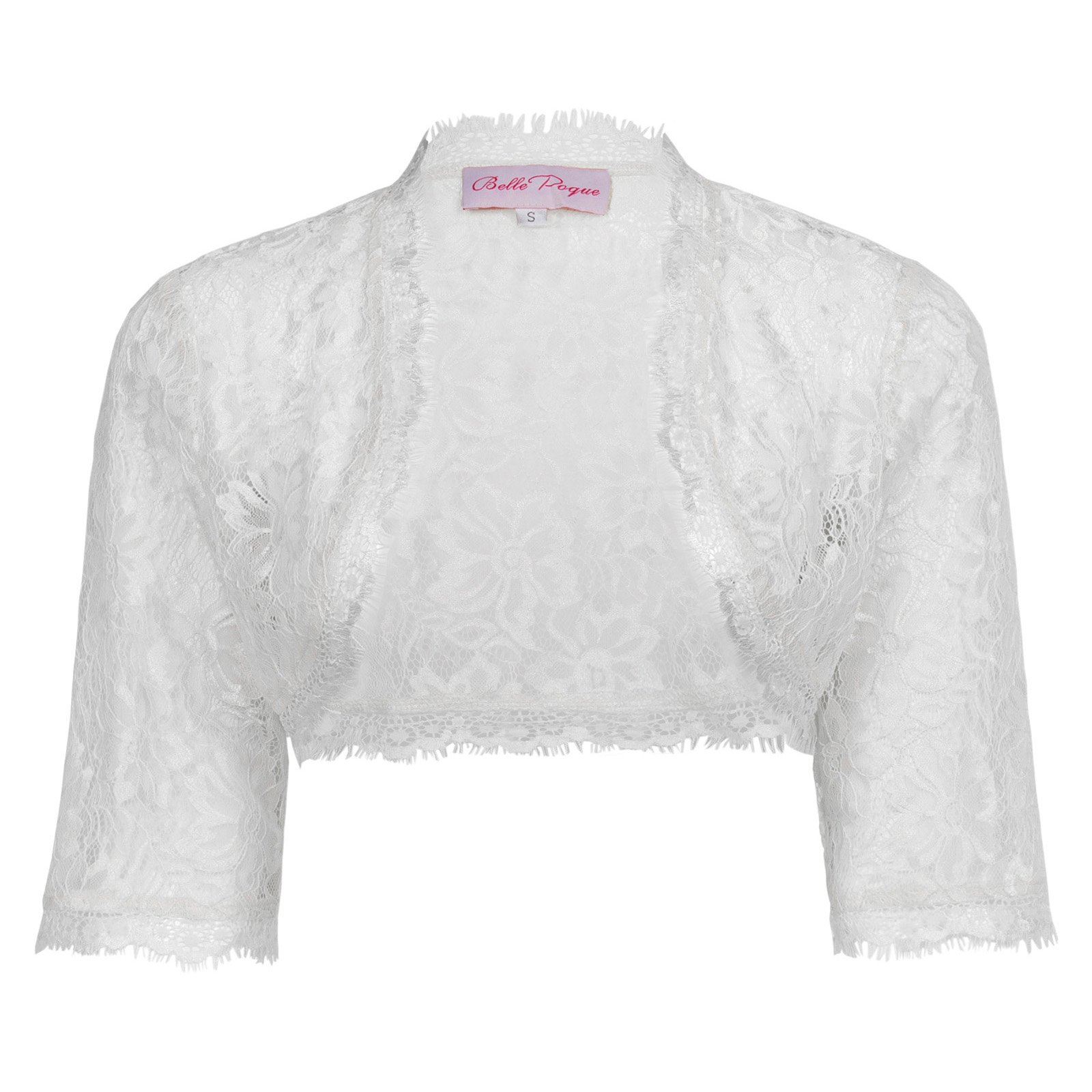 JS Fashion Vintage Dress Open Front Lightweight 3/4 Sleeve Bolero Shrug (2XL, White)