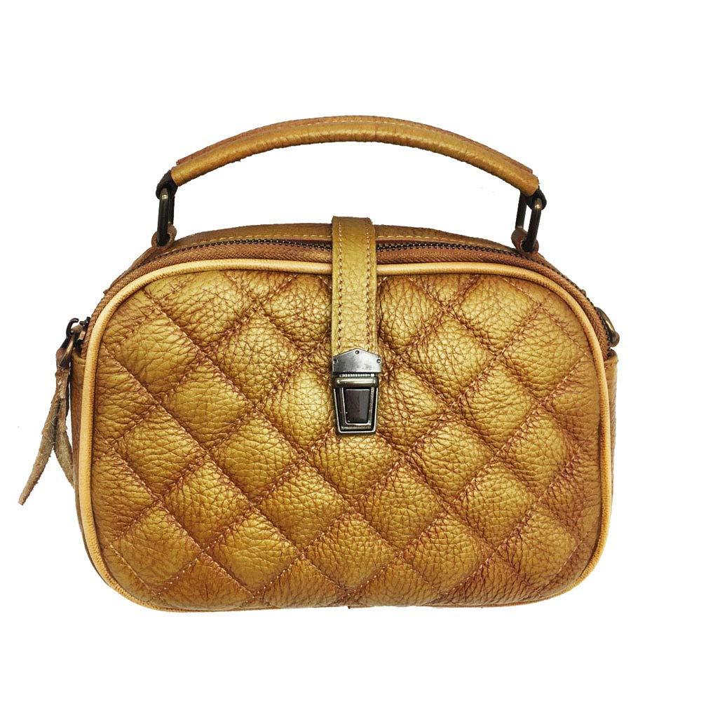 UHUBBG WomenS Bag Handmade Rub Color Portable Messenger Bag Lingge Handbags Fashion Length 24Cm High 17Cm Thickness 7Cm Caramel Brown
