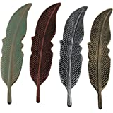 Zeckos 4 Piece Colored Metal Feather Wall Hanging Set