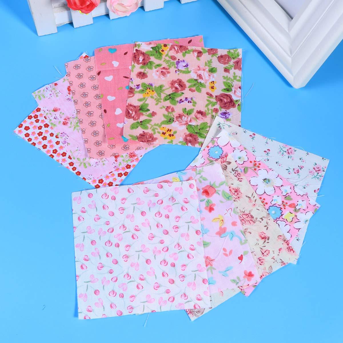 rosa Supvox 10 piezas de tela acolchada tela de sarga de algod/ón estampado floral hecho a mano bricolaje tela de algod/ón para patchwork costura