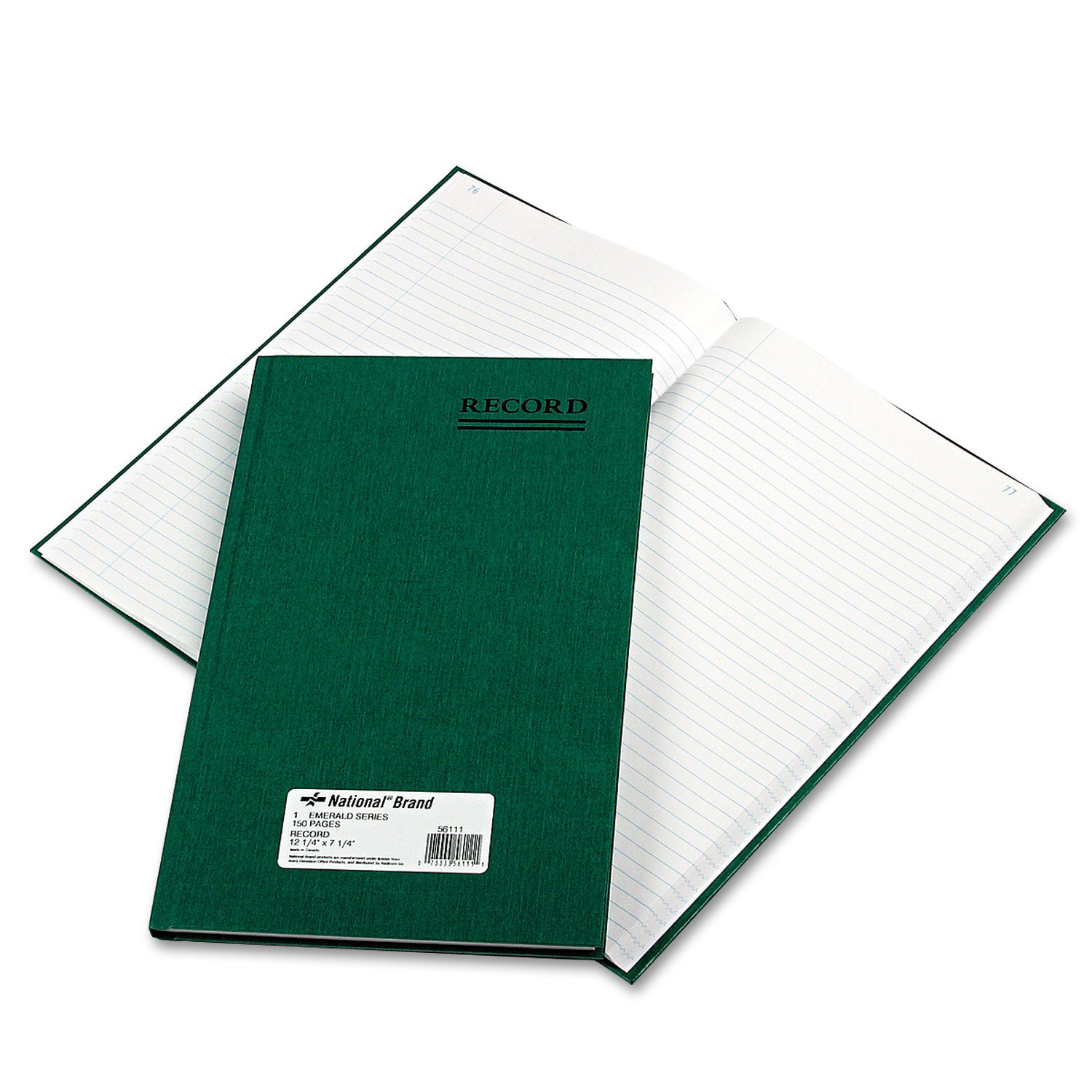 National 56111 Emerald Series Account Book Green Cover 150 Pages 12 1/4 x 7 1/4