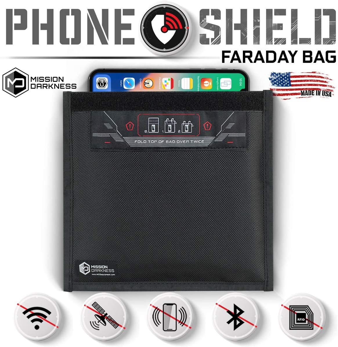 Mission Darkness Non-Window Faraday Bag for Phones - Device Shielding for Law Enforcement, Military, Executive Privacy, Travel & Data Security, Anti-Hacking & Anti-Tracking Assurance