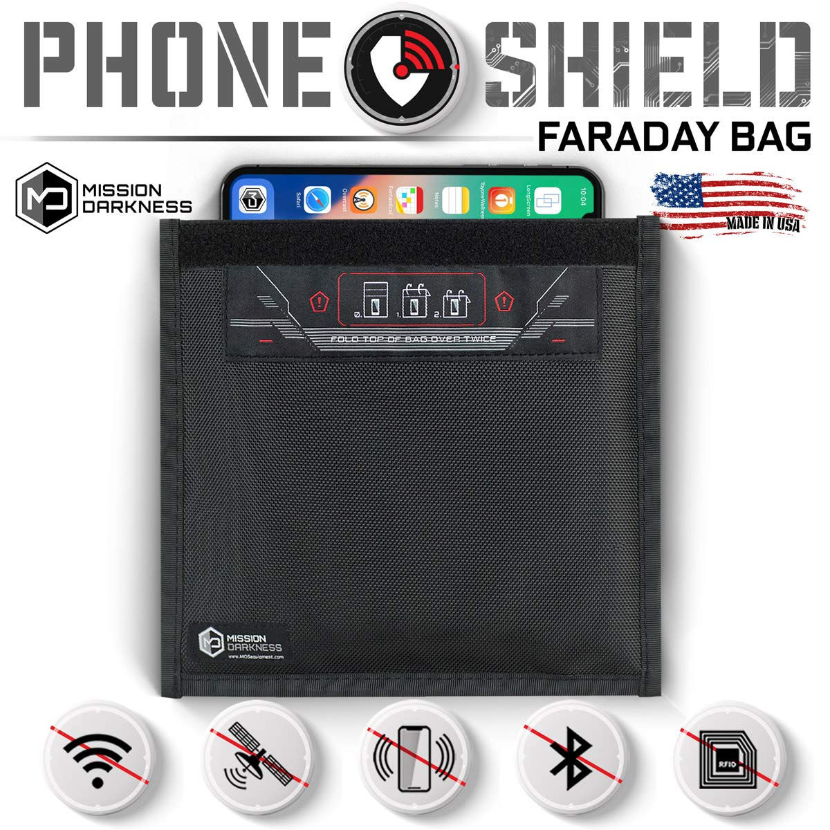 Mission Darkness Non-Window Faraday Bag for Phones - Device Shielding for Law Enforcement, Military, Executive Privacy, Travel & Data Security, Anti-Hacking & Anti-Tracking Assurance by Mission Darkness