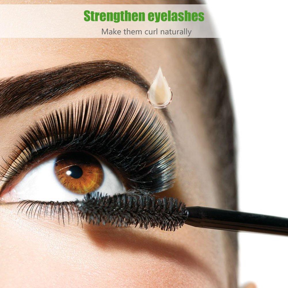 Sérum de crecimiento de pestañas de aceite de ricino prensado en frío con tubo de máscara, puro y natural, el mejor tratamiento para las pestañas, cabello, ...