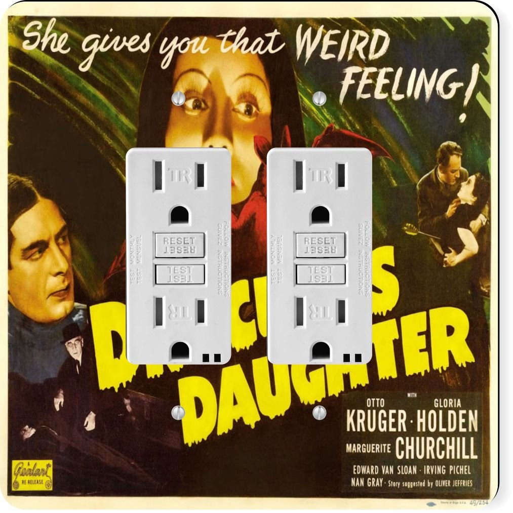 Rikki Knight 3707 Gfidouble Vintage Movie Posters Art Dracula's Daughter Design Light Switch Plate by Rikki Knight