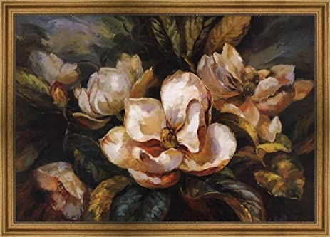 Amazon.com: Magnolias by Jaeyna Framed Art Print Wall Picture, Wide ...