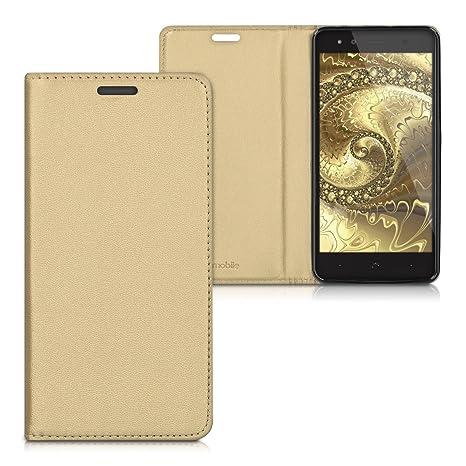 kwmobile Funda para bq Aquaris X5 Plus - Carcasa para móvil de [Cuero sintético] - Case [Plegable] en [Dorado]