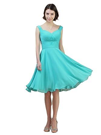 Alicepub Short Chiffon Bridesmaid Dress A-Line Party Prom Gown Cocktail Dress Straps, Aqua