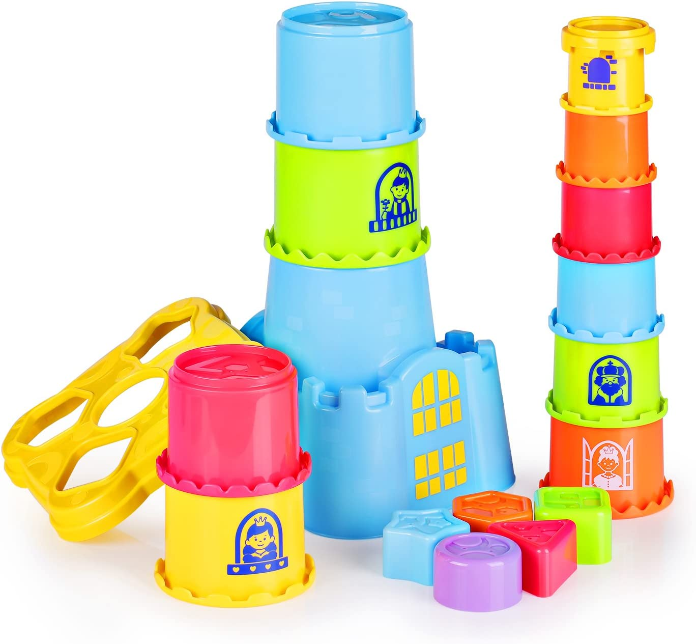 Happkid Stacking Cups with Castle Stacker for Toddler, Stacking and Sorting Nesting Toys Game for Kids