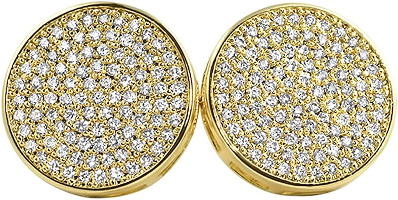 Hip Hop 16Mm Round Micro Pave Cubic Zirconia Stud Earring Gold Plating Bling Women Mens Screwback Earring,Gold