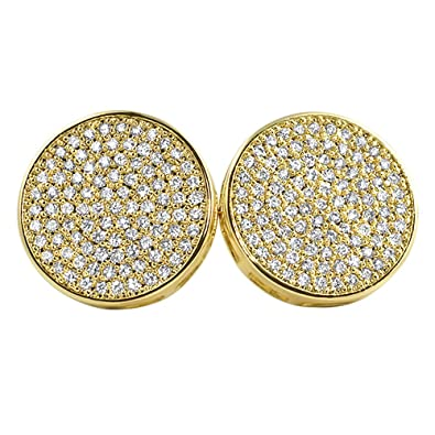 90c2496dd Image Unavailable. Image not available for. Color: Gold Large 16MM Circle  Micro Pave Bling Bling Earrings