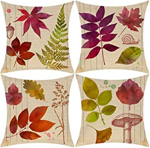 Amazon Com Wilproo Fall Maple Leaf Autumn Decor Pillowcase Cotton Linen Leaves Decorations Cushion Covers 18 X 18 Inch Sofa Home Decor Throw Pillow Case For Bed Pillow Covers Set Of 4 Home