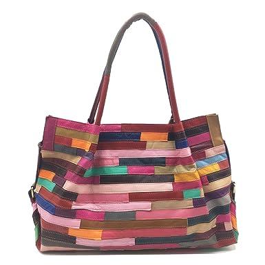 Damen Ledertasche Nähende Einkaufstasche Schulter Umhängetasche Gestreifte Farbe Tasche Lady Bag Exquisit Tote übertrieben Big Bag,Black-OneSize CHENGXIAOXUAN