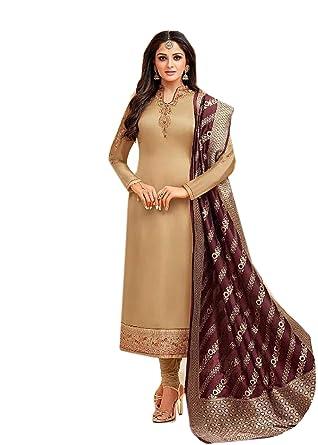 61b7b01458 BKRKJ Women's Pure Satin Silk Fabric Unstitched Salwar Suit Material    Bridal Wear Exclusive Hand Work