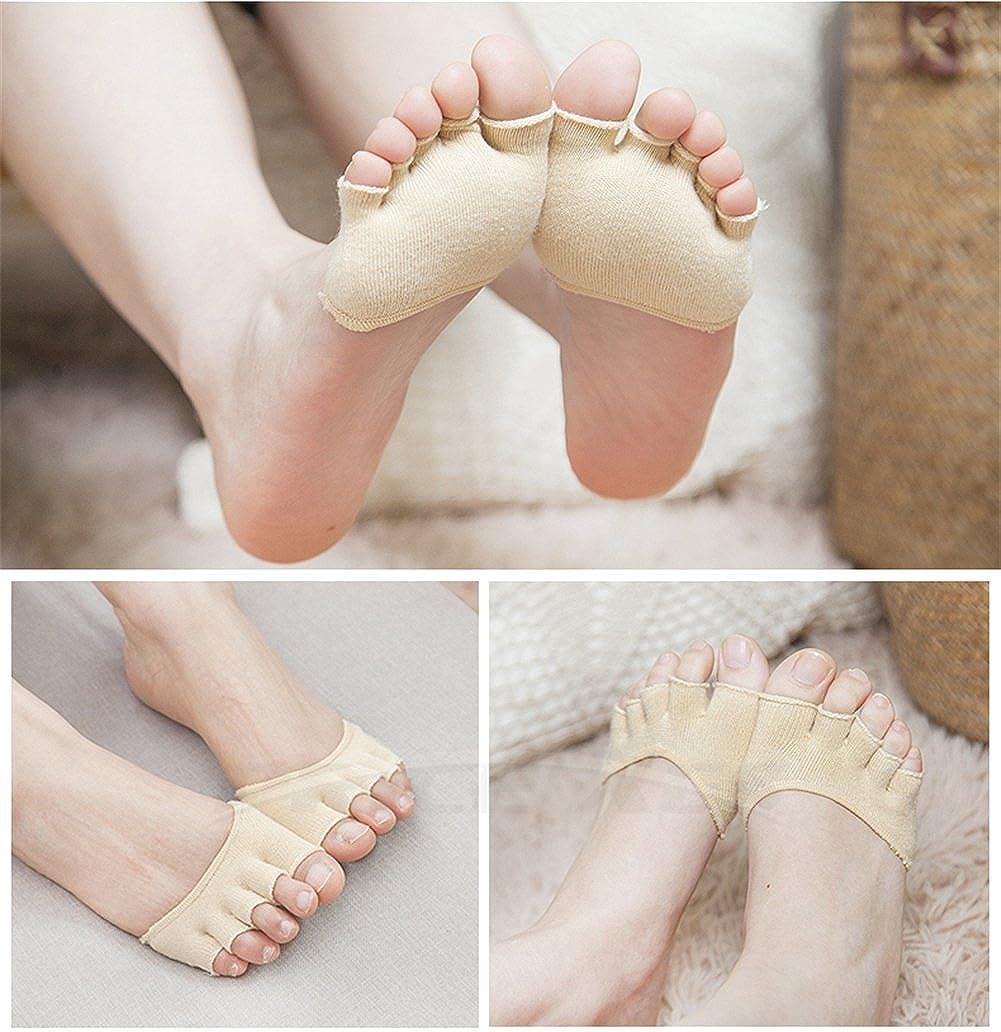 Toe Topper Socks Anti Slip Yoga Barre Dance Toeless Sock 5 Toe Separating