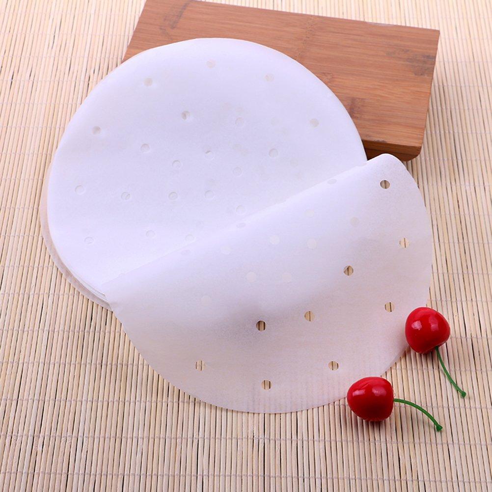 antiadherente para la cocci/ón al vapor Cesta de la cesta verduras Dim Sum c/írculo de cocina BESTONZON Air Fryer Liner 9 pulgadas pergamino redondo Pergamino papel de vapor 100pcs//set