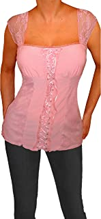product image for Funfash Plus Size Women Pink Lace Bustier Corset Top Blouse Shirt Made in USA