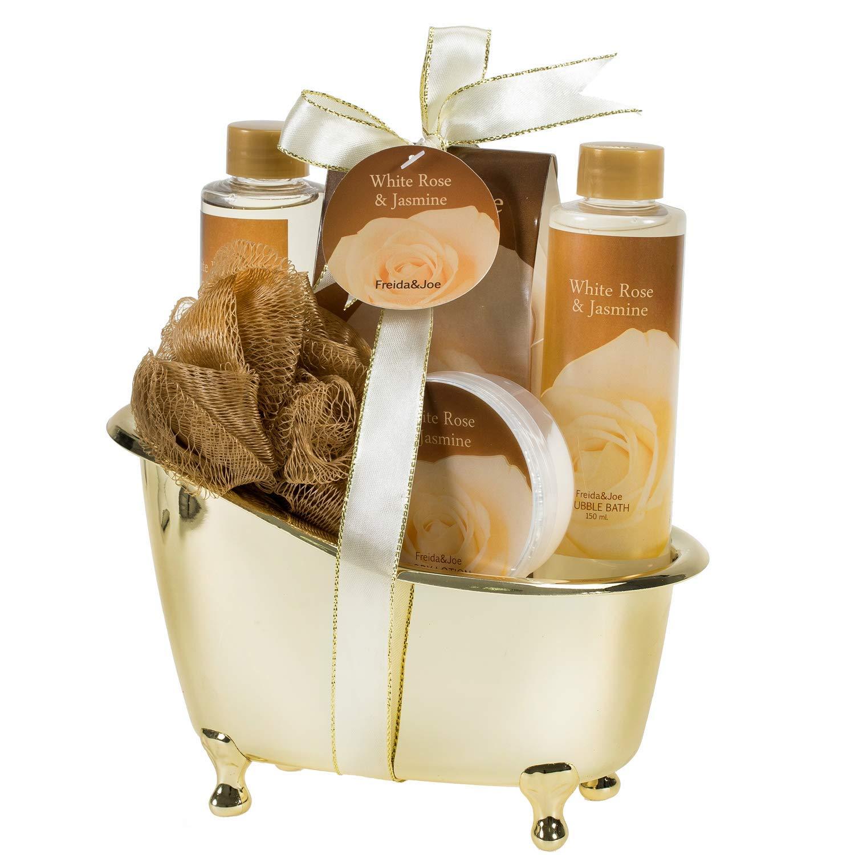 Luxurious White Rose Jasmine Spa Gift Set For Women Displayed In Elegant Gold Tub Includes: Shower Gel, Bubble Bath , Body Lotion, Jasmine Bath Salt and Pouf, Award Winning Bath and Body Gift Set by Freida Joe