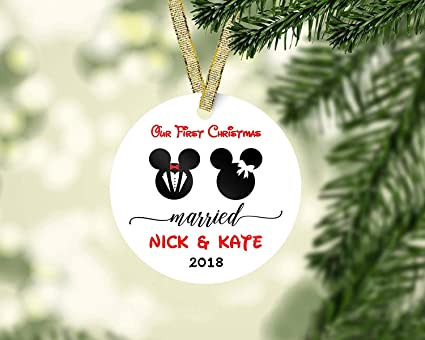 Amazon Com Mesllings First Christmas Married Disney Ornament