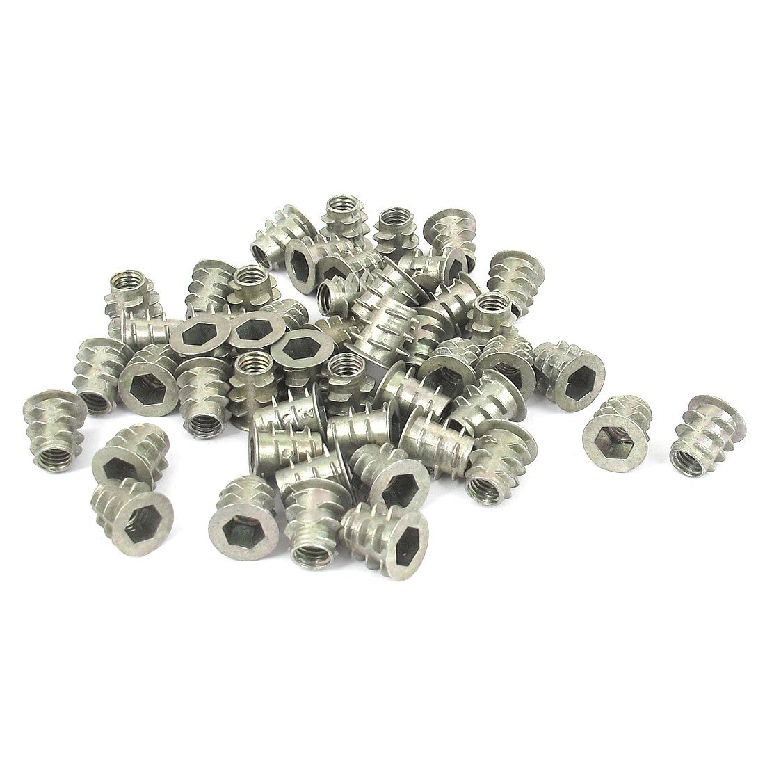 uxcell Threaded Insert Nuts Zinc Alloy Hex-Flush M6 Internal Threads 25mm Length 30pcs a18071100ux0271