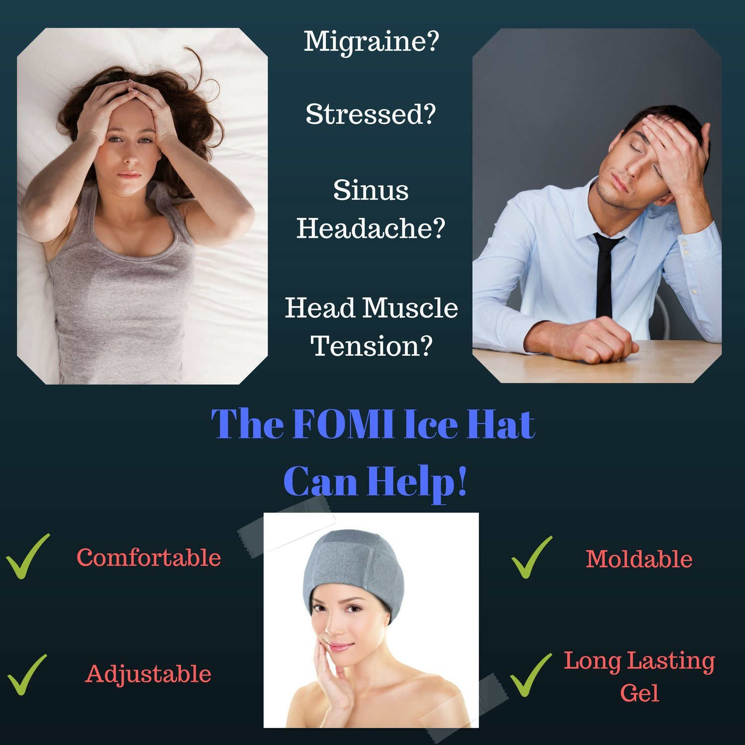 b6e38e39 Amazon.com: Migraine Gel Ice Hat by FOMI Care | Cooling Headache Pack |  Wearable Cold Therapy Wrap for Tension, Sinus, Pressure Pain Relief |  Stress ...