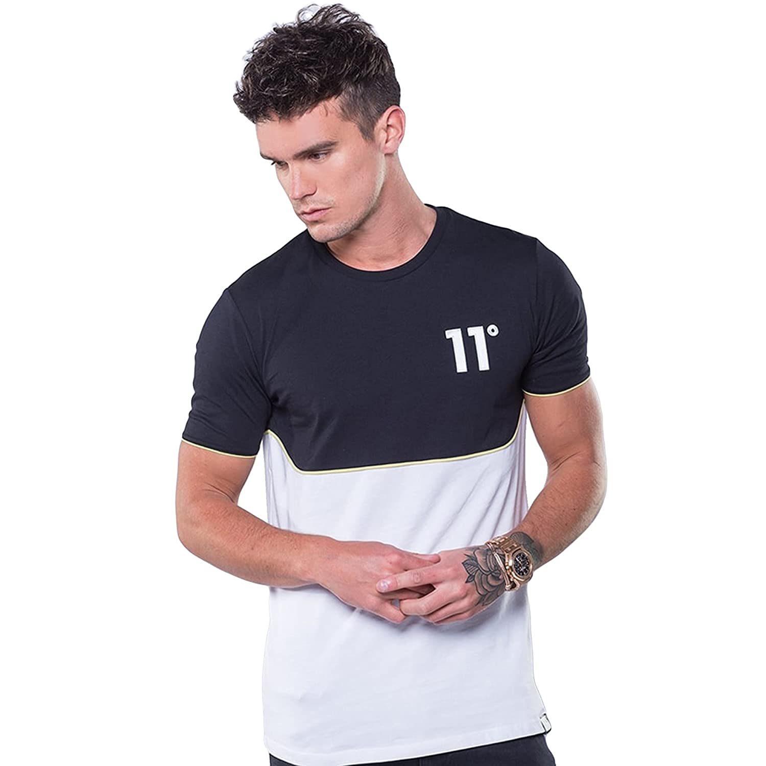 eb6b1aef8 Eleven Degrees 11 Degrees 11D-672 Black/White With Yellow Piping  Half-Sleeve T-Shirt X-Large Black: Amazon.co.uk: Clothing