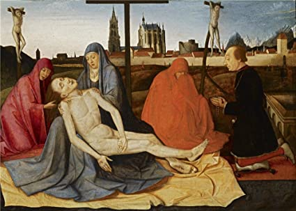 Oil Painting French Probably South Of France Pieta With Donor 15th Century  Inch  Cm On High Definition Hd Canvas Prints Is For