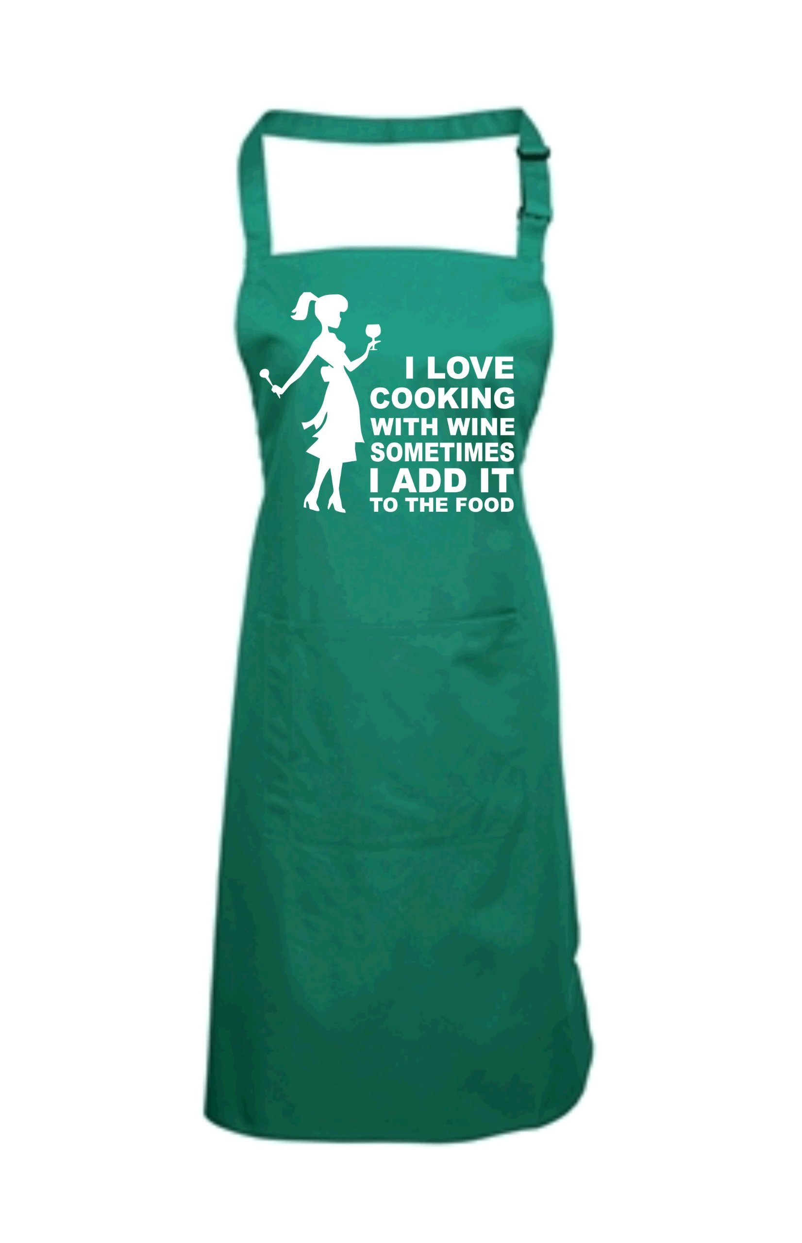 Edward Sinclair Women's I Love Cooking With Wine Sometimes I Add It To The Food With Female Image Apron One Size Bottle Green