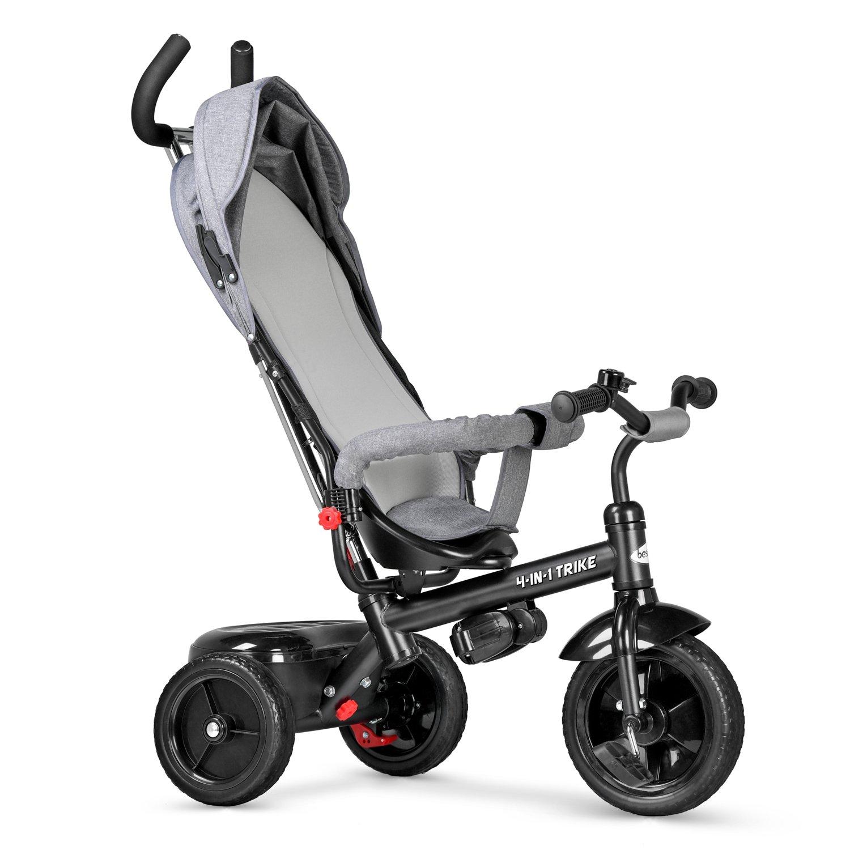 besrey Kids Tricycle 4 in 1 Baby Trike with Steering Handle - Gray