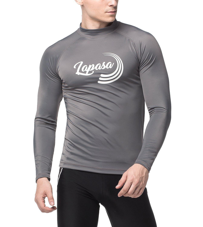 LAPASA Swimwear - Men's Long Sleeve Rash Guard, UPF50+ Solar Protection (98% Anti-UV, for Swimmers) M43