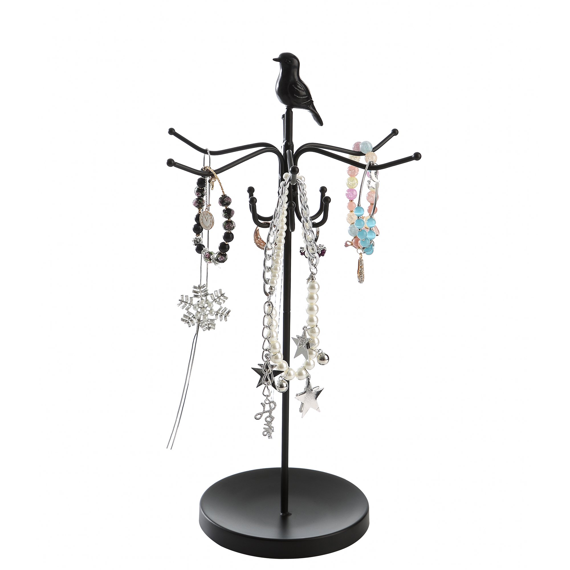 Giftway Black Rotating Necklace Holder, Bracelet Stand Jewelry Tree Organizer with Bird on The Top