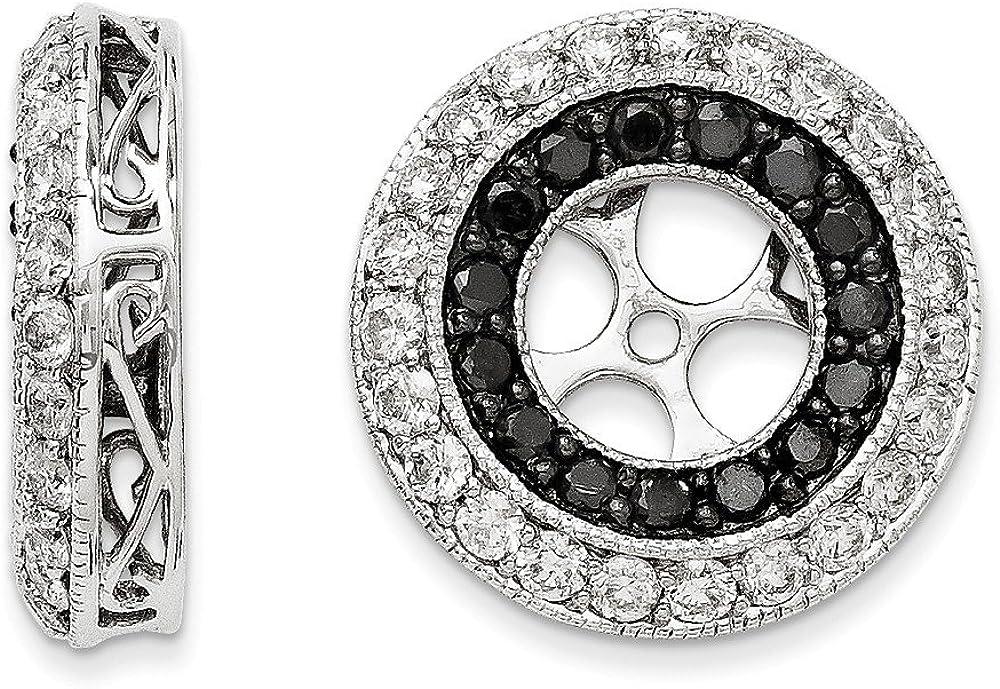 14k White Gold Black and White Diamond Earring Jackets 17mm (2 cttw.)