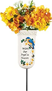 Collections Etc Our Angel in Heaven Memorial Vase Garden Stake - for Real or Faux Flowers - Bluebird, Cardinal - Mom, Dad - Resin, Iron