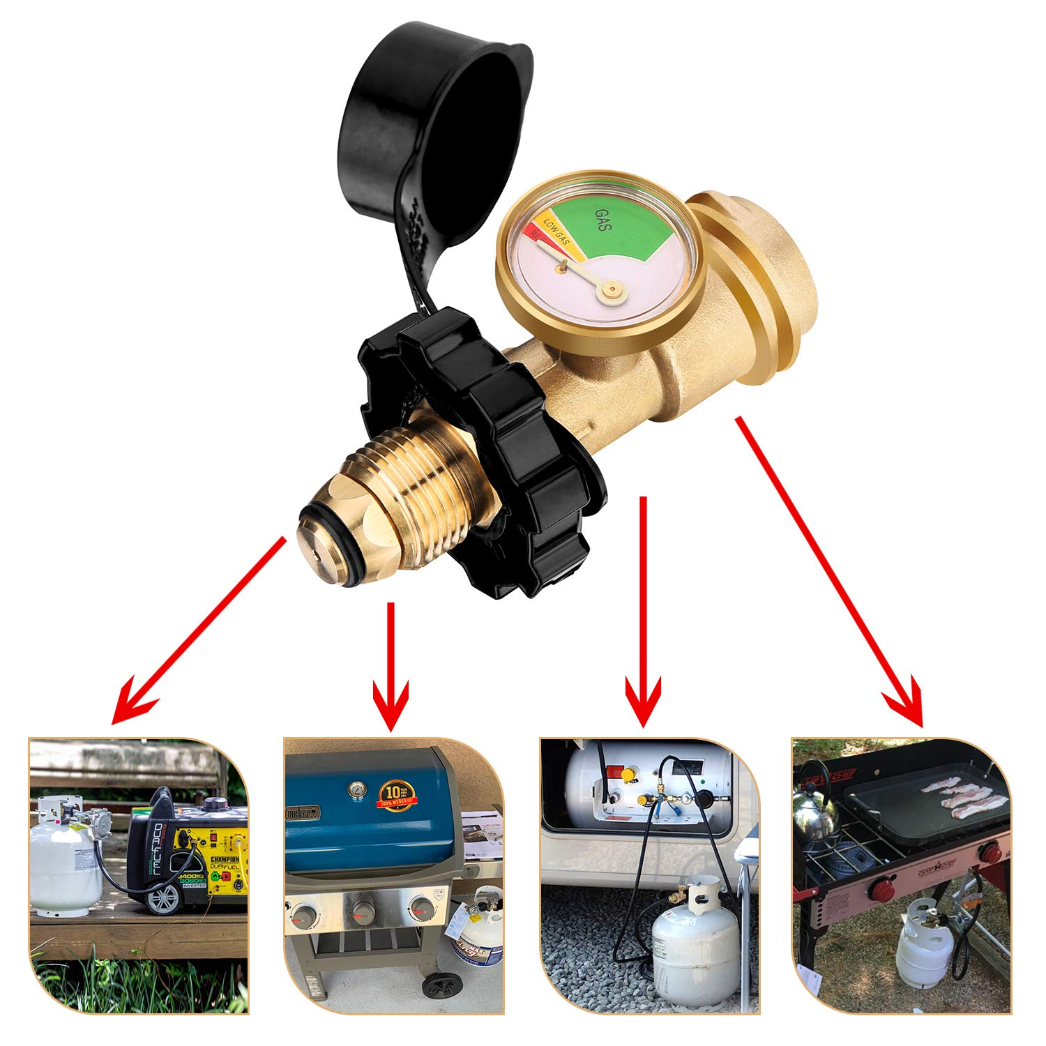 WADEO Upgraded POL Propane Tank Adapter with Gauge Converts POL LP Tank Service Valve to QCC1 // Type 1 Universal Propane Tank Gauge for Propane Cylinder BBQ Gas Grill Heater