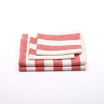 Juego de toallas de baño del lino en color rojo modelo Philippe: Amazon.es: Hogar