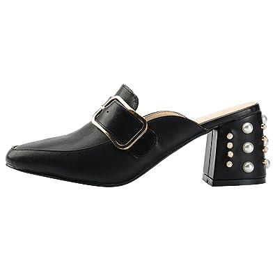 Alexis Leroy Blockabsatz Mule Sandalen Damen Pantoletten mit Perlen Schwarz 38 EU c1b1p91CEZ