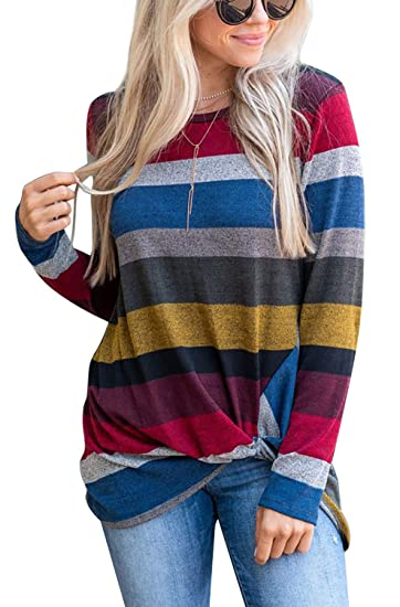 311fa70371 Women's Color Block Striped Shirt Long Sleeve Twist Knot Casual Blouse and  Tops at Amazon Women's Clothing store: