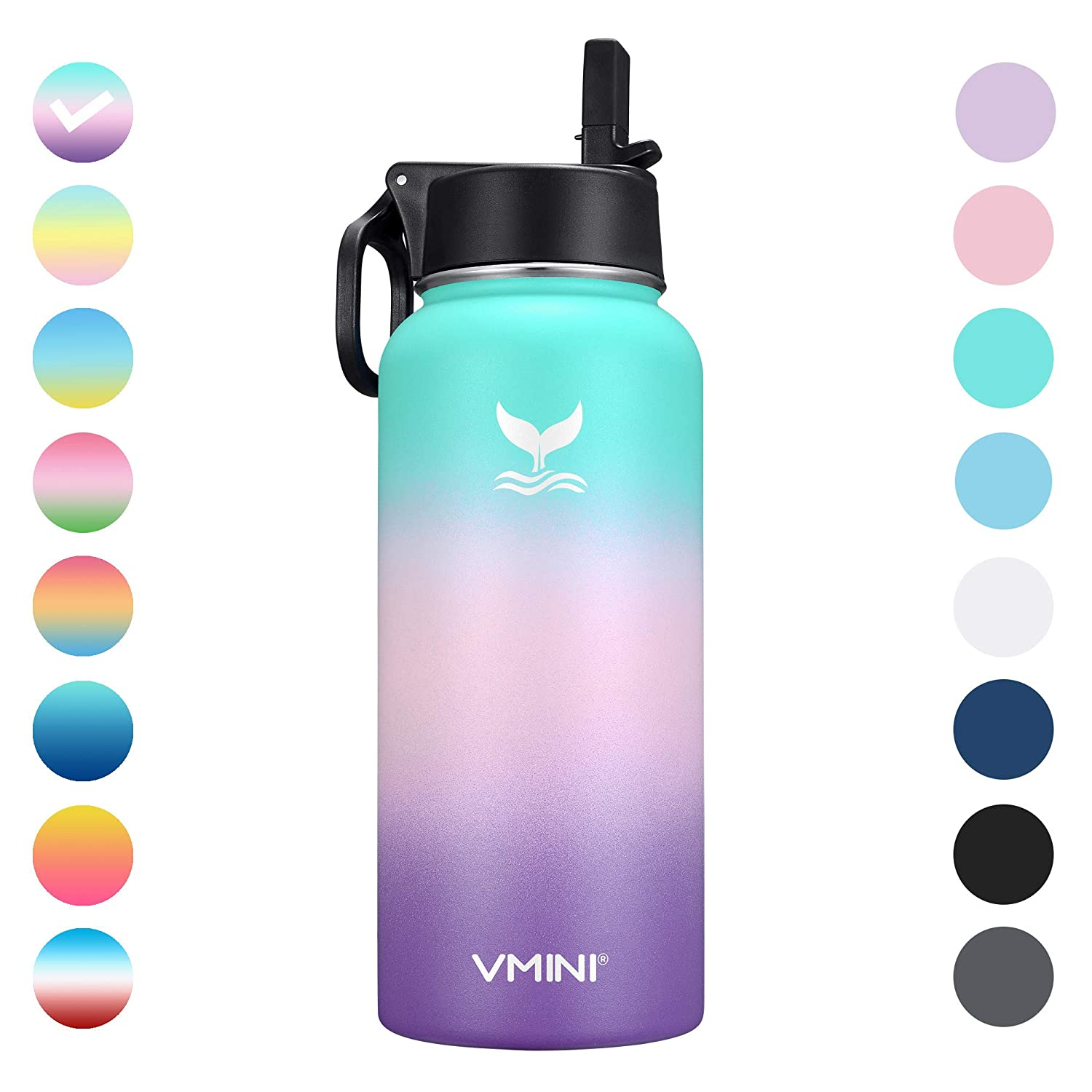 Vmini Water Bottle with New Wide Handle Straw Lid, Wide Mouth Vacuum Insulated 18/8 Stainless Steel, 32 oz, Gradient