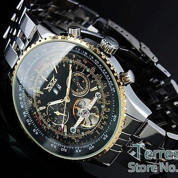 sportsy JARAGAR lujo reloj Hombre Day/Mes Tourbillon mecánica relojes Stell reloj para hombre reloj
