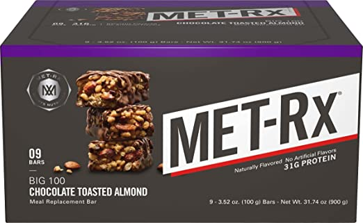 Amazon.com: MET-Rx Big 100 Colossal Chocolate Toasted Almond, 100 gram, 9 count: Health & Personal Care