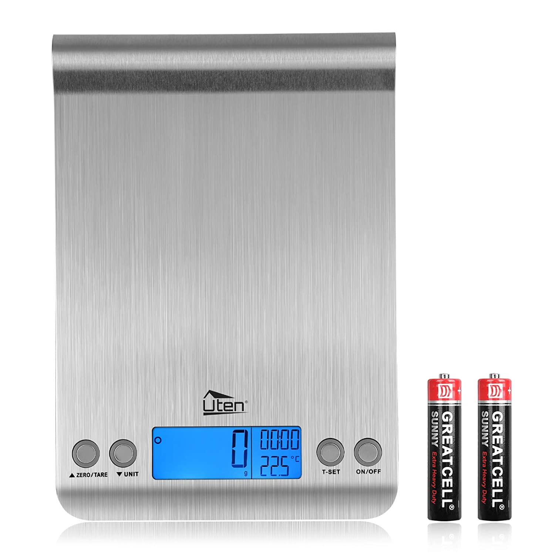Digital Kitchen Scale Ultra Slim Multifunction Stainless Steel Hook Design Food Scale 11lb 5kg with Back-Lit LCD Display Fingerprint Resistant Coating