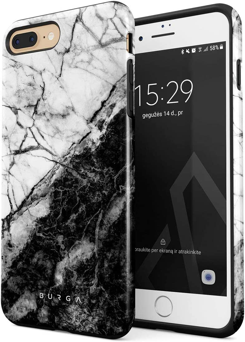 BURGA Phone Case Compatible with iPhone 7 PLUS / 8 PLUS - Fatal Contradiction Black And White Marble Yin And Yang Cute For Girls Heavy Duty Shockproof Dual Layer Hard Shell + Silicone Protective Cover