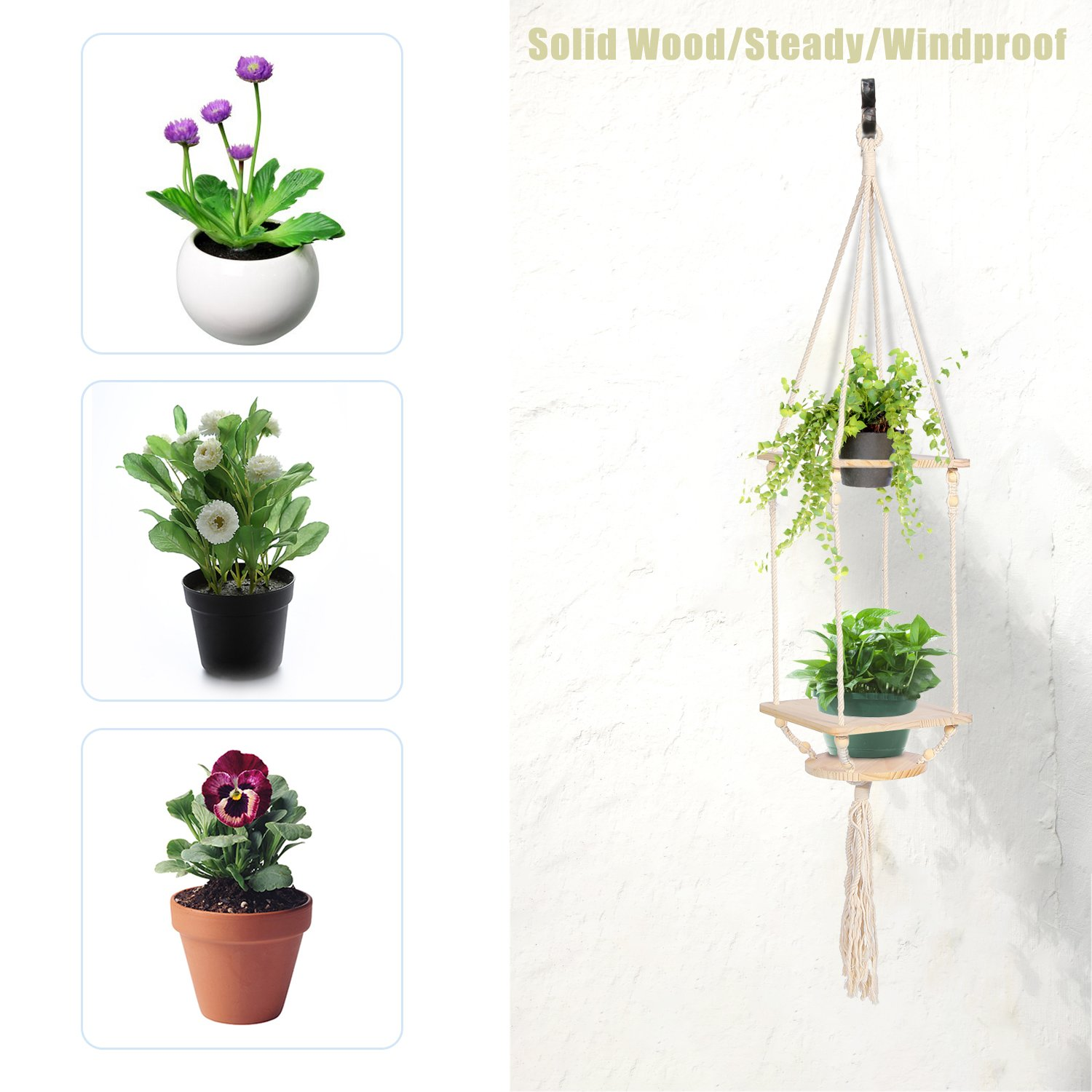Gardening Cotton Cord Herbs 2 Tier Plant Holder Wooden Hanging Planter Stand Pine Shelf With Decorative Beads Bohemian Home Decor Flower Pot Holder For Succulent Cacti Plants Sonyabecca Macrame Hanging Planter Patio