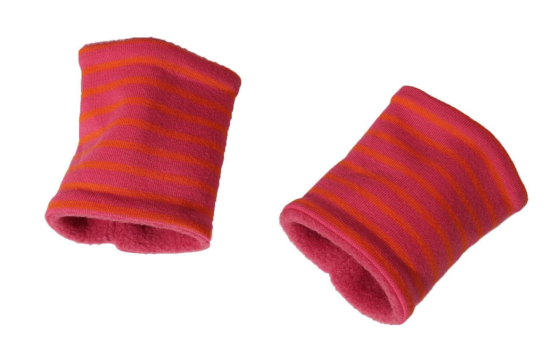 (17KSTU219) Pulswärmer für Kinder, Kurz-Stulpen Neon Streifen | brit-M-kids