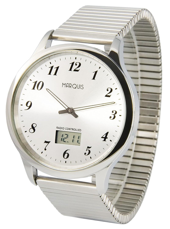 Elegante MARQUIS Herren Funkuhr (Junghans-Uhrwerk) GehÄuse und Armband aus Edelstahl 964.6020